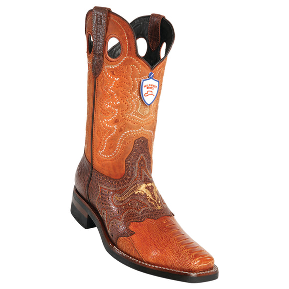 Men's Wild West Ostrich Leg With Saddle Boots Square Toe