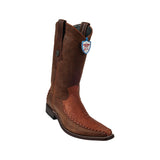 Men's Wild West Ostrich Leg With Deer (Grasso) Boots European Square Toe