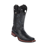 Men's Wild West Ostrich Leg With Rubber Sole Boots Square Toe