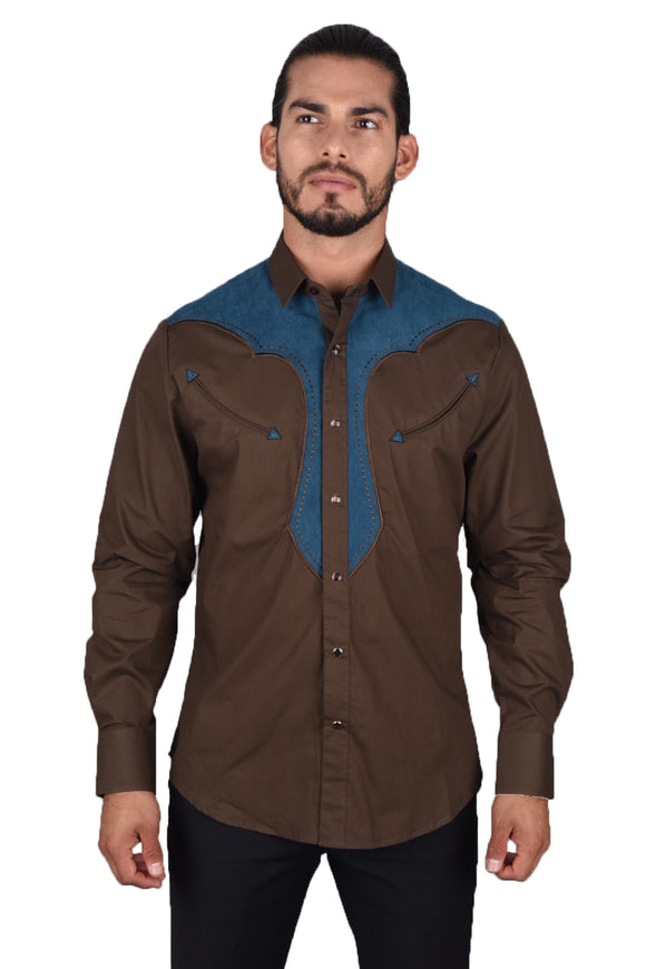 Bryant Suede Platini Western Shirt Brown