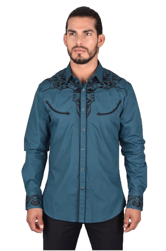 Luke Embroidered Western Platini Shirt Teal