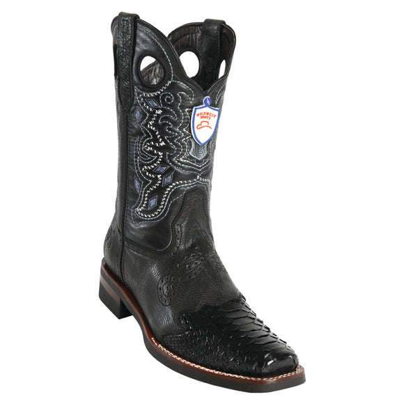 Men's Wild West Python Saddle Rubber Sole Boots Square Toe