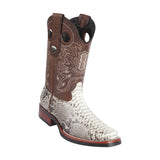 Men's Wild West Python With Rubber Sole Boots Square Toe