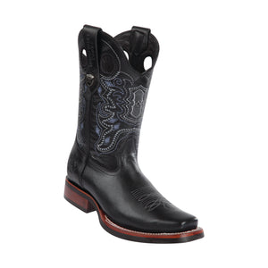 Men's Wild West PullUp With Rubber Sole Boots Square Toe