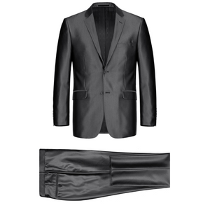 Men's Renoir Two Piece Shiny Black Classic Fit Suit