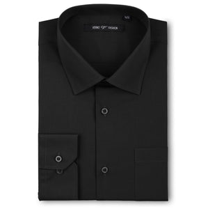 Men's Black Dress Shirt Slim Fit Verno Fashion