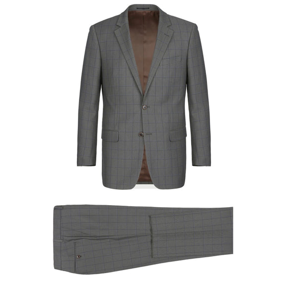 Men's Renoir Two Piece Windowpane Gray Classic Fit Suit