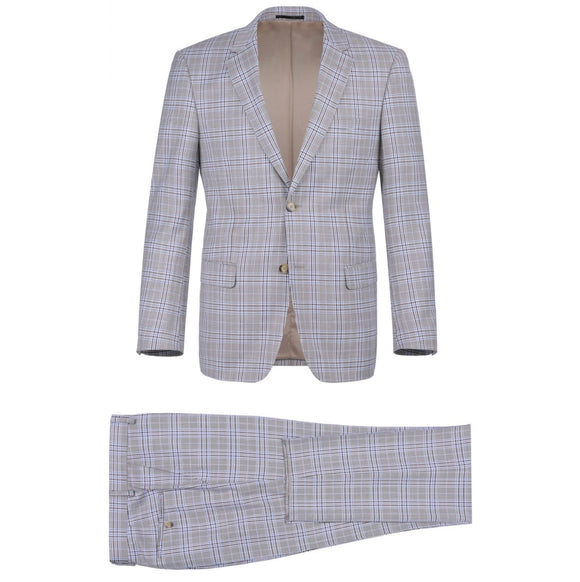 Men's Renoir Two Piece Windowpane Light Gray Slim Fit Suit