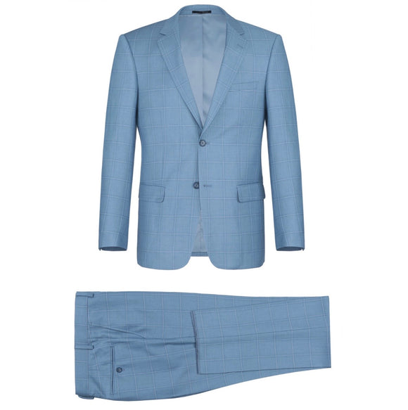 Men's Renoir Two Piece Windowpane Light Blue Slim Fit Suit