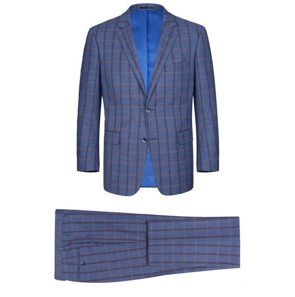 Men's Renoir Two Piece Windowpane Teal Slim Fit Suit