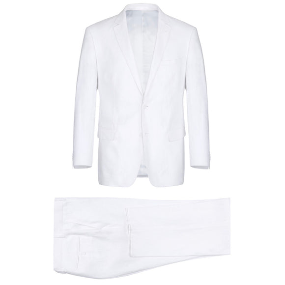 Men's Renoir Two Piece White Linen Suit Classic Fit