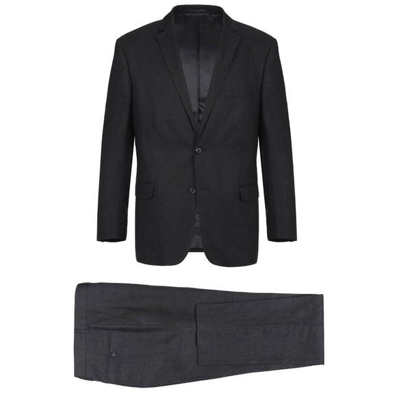 Men's Renoir Two Piece Black Linen Suit Classic Fit