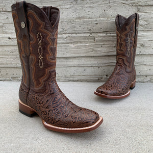 Men's Tanner Mark Brown Hand Tooled Print Wide Square Toe Boots