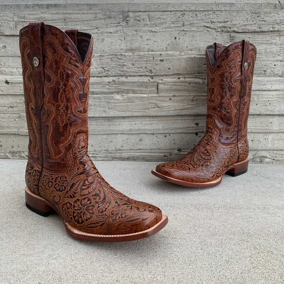 Men's Tanner Mark Cognac Hand Tooled Print Wide Square Toe Boots