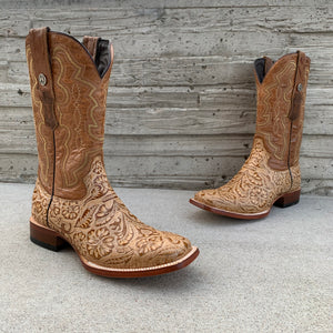 Men's Tanner Mark Oryx Hand Tooled Print Wide Square Toe Boots