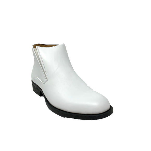 Giovanny White Faux Leather Ankle Boots