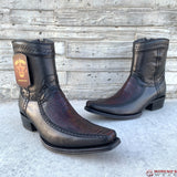 Men's Los Altos Ostrich Leg & Deer Ankle Boots European Square Toe