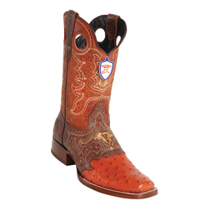 Men's Wild West Ostrich With Saddle Boots Square Toe