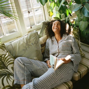 Midnight Stripe Linen Pyjama Trousers - Piglet in Bed