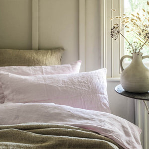 Blush Pink Linen Pillowcases (Pair)