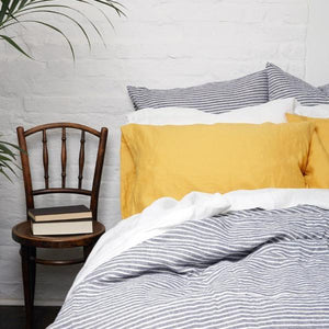 Yellow Linen Square Pillowcases - Piglet in Bed