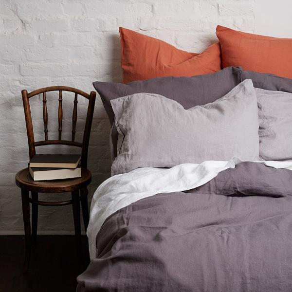 Terracotta Linen Square Pillowcases - Piglet in Bed