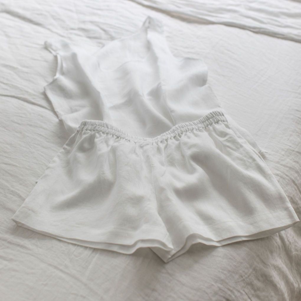 White Cami Pyjama Set - Piglet in Bed