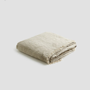 Oatmeal Linen Crinkle Throw - Piglet in Bed