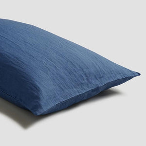 Blueberry Linen Pillowcases - Piglet in Bed