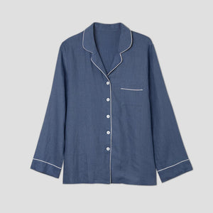 Blueberry Linen Pyjama Shirt - Piglet in Bed