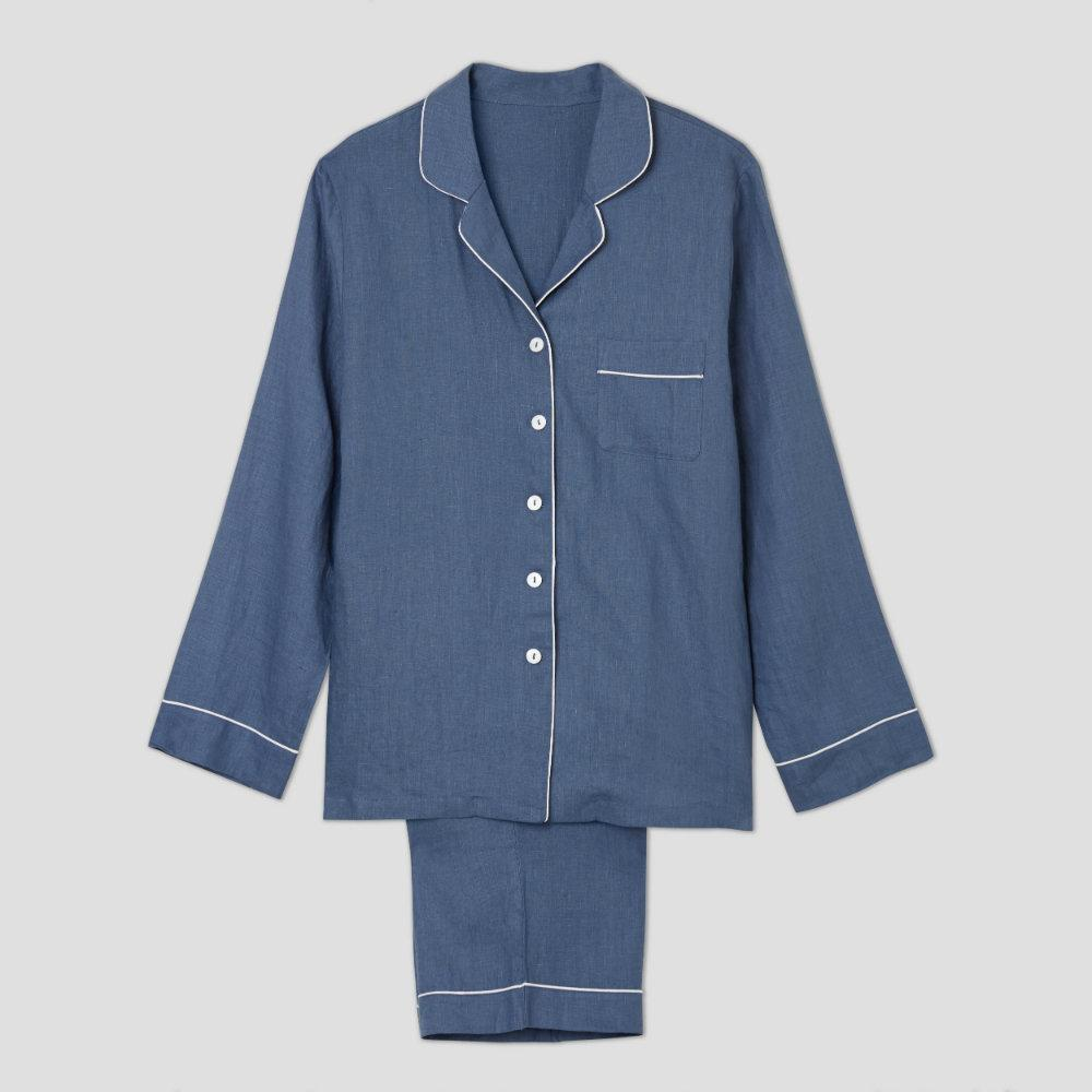 Blueberry Linen Pyjama Trouser Set