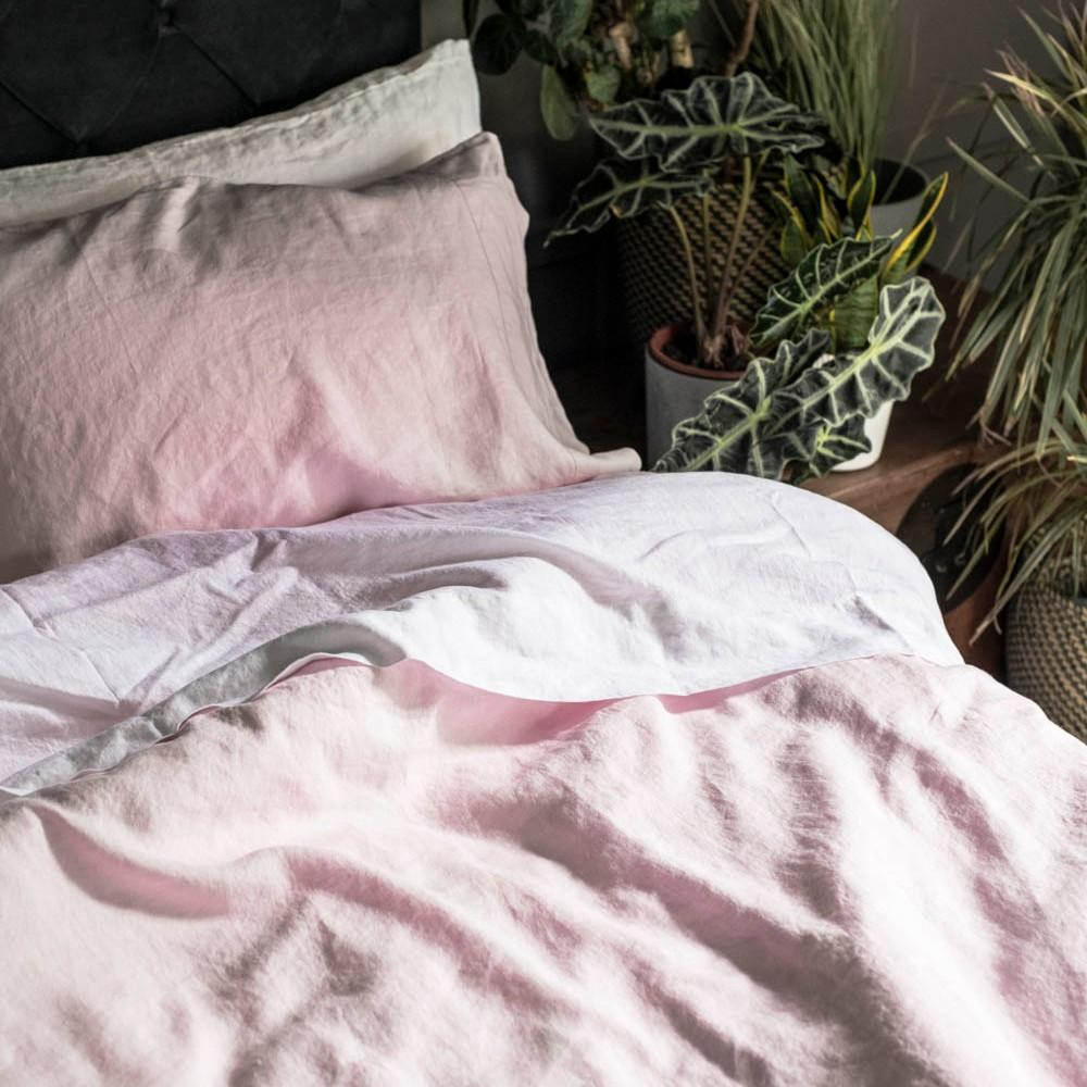 Blush Pink Linen Duvet Cover - Piglet in Bed