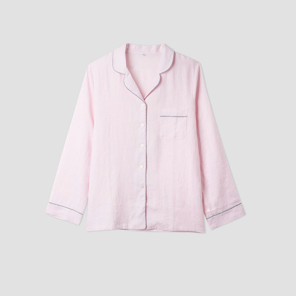 Blush Pink Linen Pyjama Shirt - Piglet in Bed