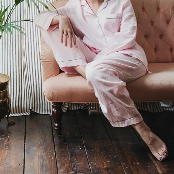 Blush Pink Linen Pyjama Trouser Set - Piglet in Bed