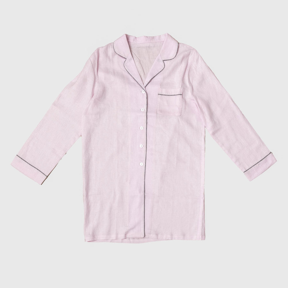Blush Pink Night Shirt - Piglet in Bed