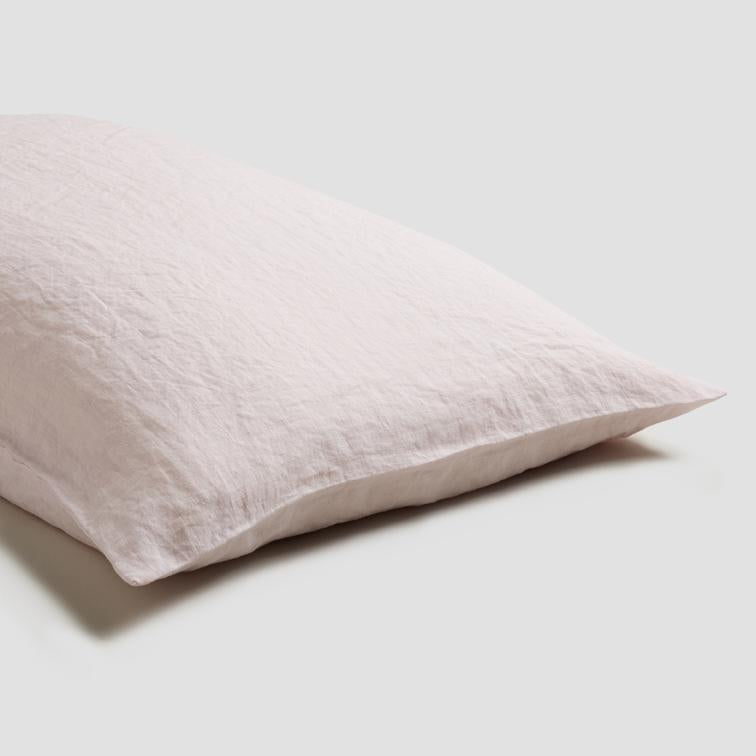 Blush Pink Linen Pillowcases - Piglet in Bed