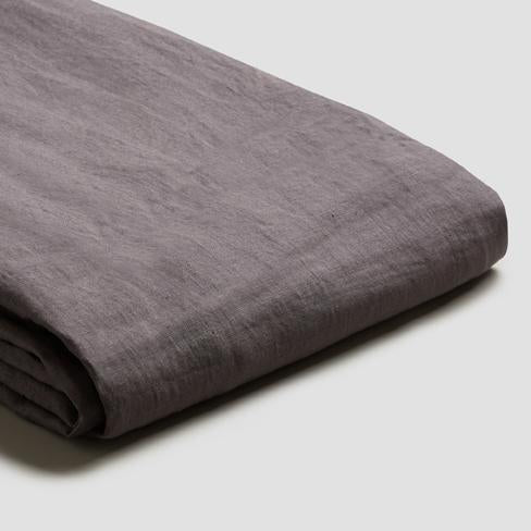 Charcoal Grey Linen Duvet Cover - Piglet in Bed