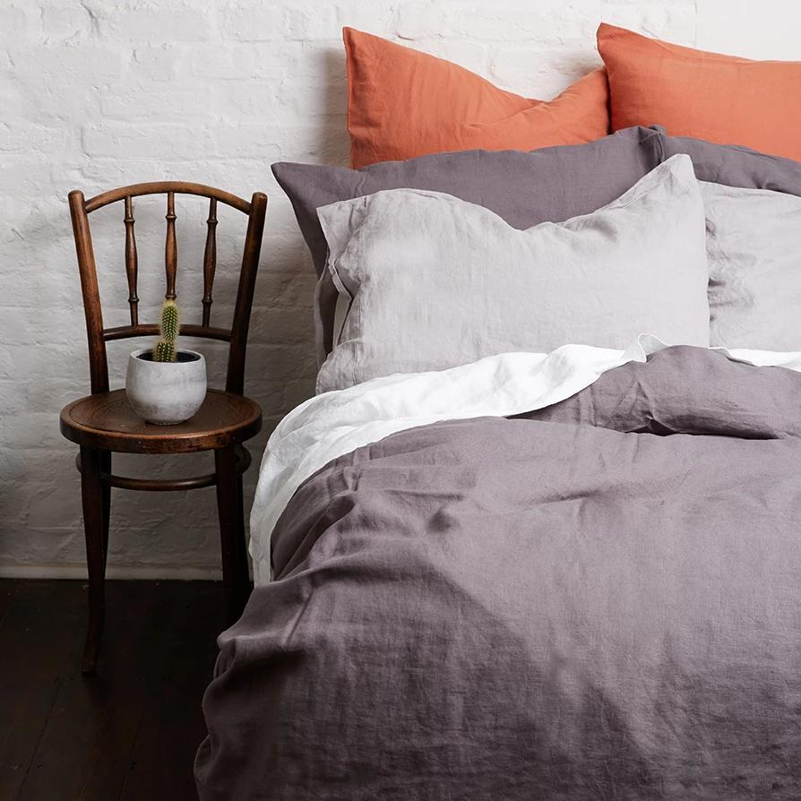 Charcoal Grey Linen Pillowcases - Piglet in Bed