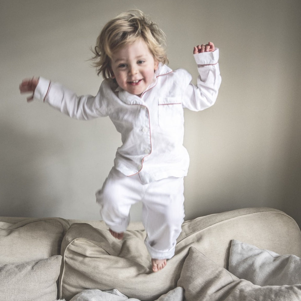 White Linen Kids Pyjama Set