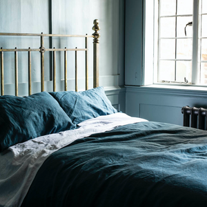 Deep Teal Linen Duvet Cover - Piglet in Bed