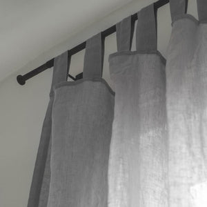Dove Grey Linen Curtains - Piglet in Bed