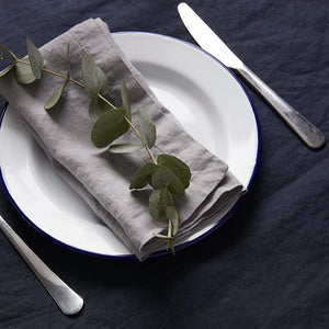 Dove Grey Linen Napkin - Piglet in Bed