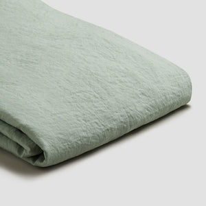 Sage Green Linen Duvet Cover - Piglet in Bed