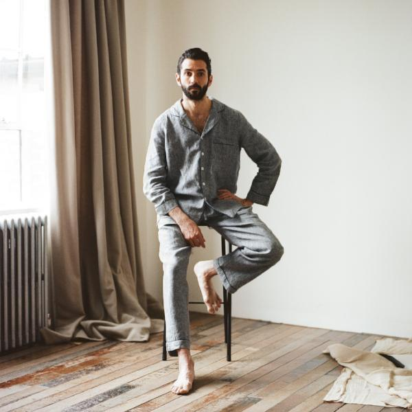 Men's Grey Linen Pyjama Trouser Set - Piglet in Bed
