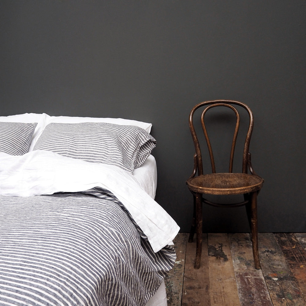 Midnight Stripe Linen Duvet Cover - Piglet in Bed