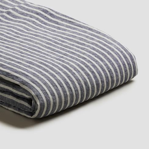 Piglet Midnight Stripe Linen Duvet Cover Size Single | 100% Natural Stonewashed French flax