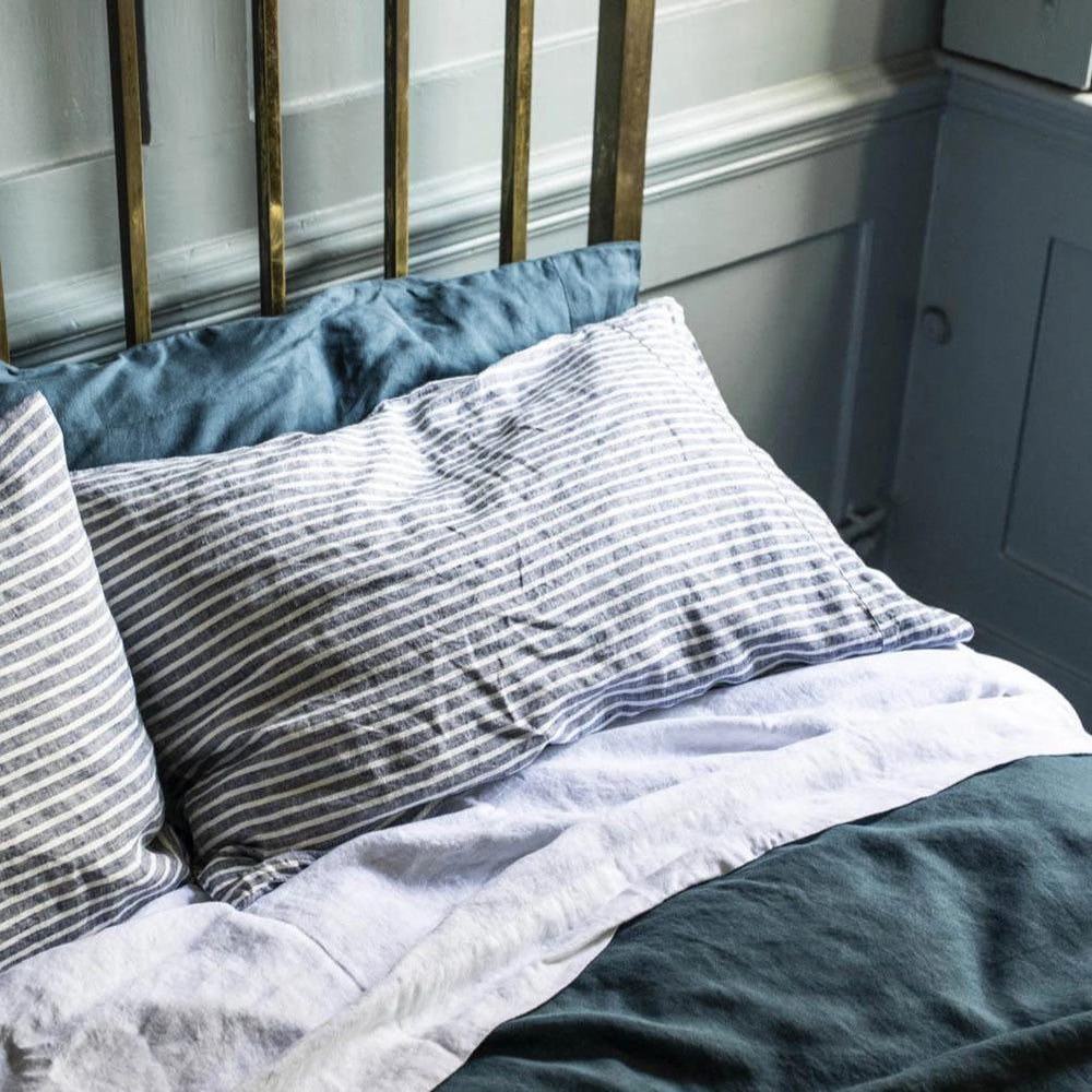 Midnight Stripe Linen Pillowcases - Piglet in Bed