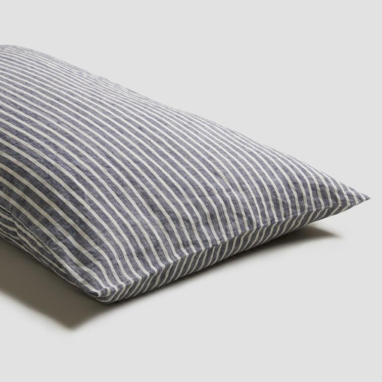 Piglet Midnight Stripe Linen Pillowcases (Pair) Size Standard | 100% Natural Stonewashed French flax