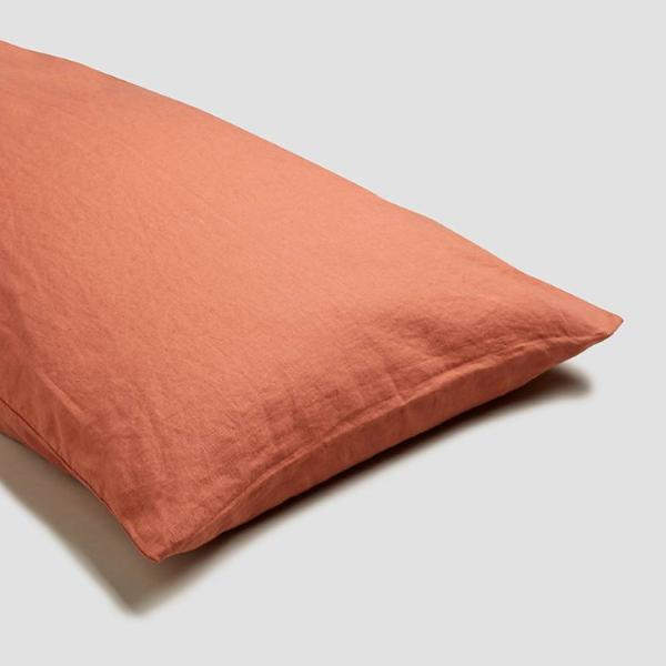 Terracotta Linen Square Pillowcases (Pair)