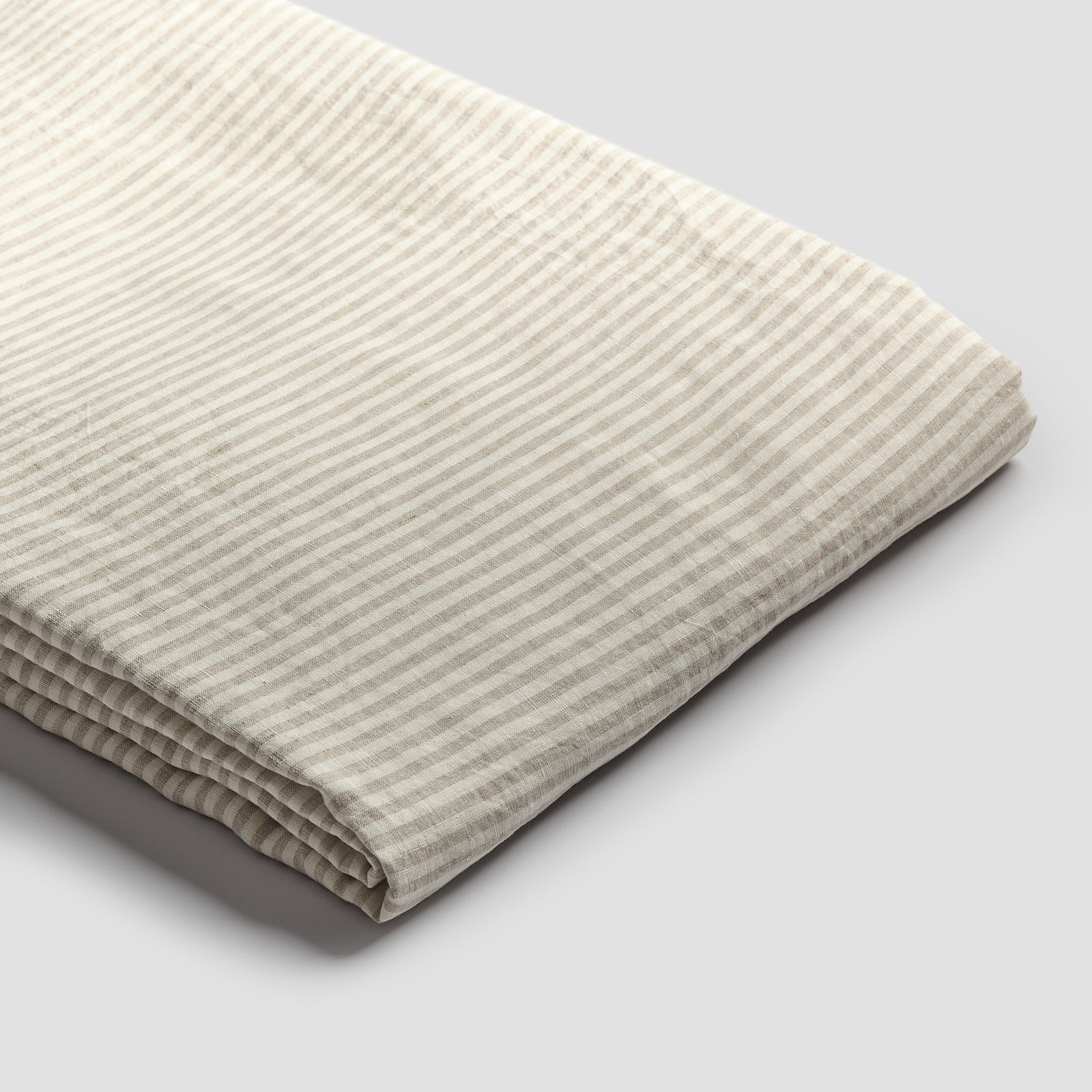 Piglet Oatmeal Stripe Linen Duvet Cover Size Super King   100% Natural Stonewashed French flax